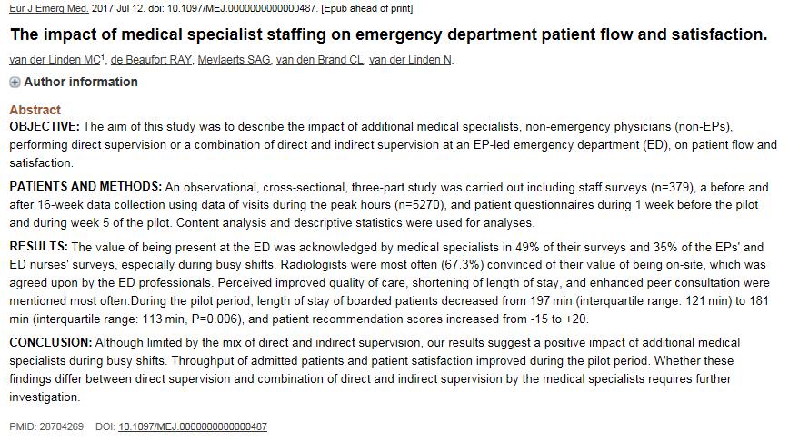 Onderzoek naar verlengde aanwezigheid van medisch specialisten op de SEH