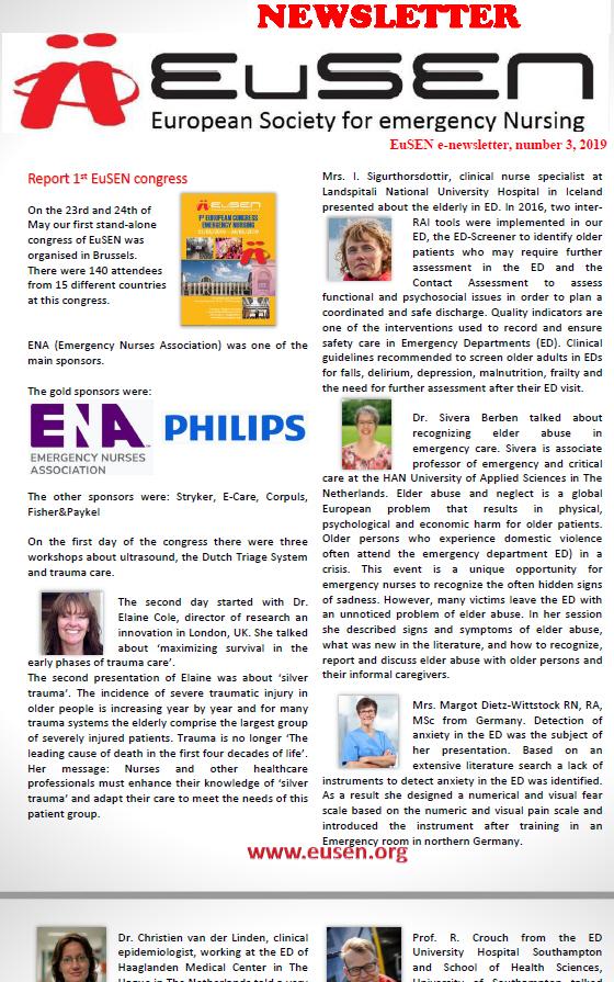 Nieuwsbrief 3-2019 van de EuSEN is uit