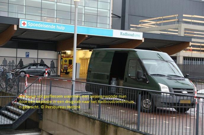 Slachtoffers explosie drugslab met busje vol gasflessen naar SEH Radboudziekenhuis gebracht