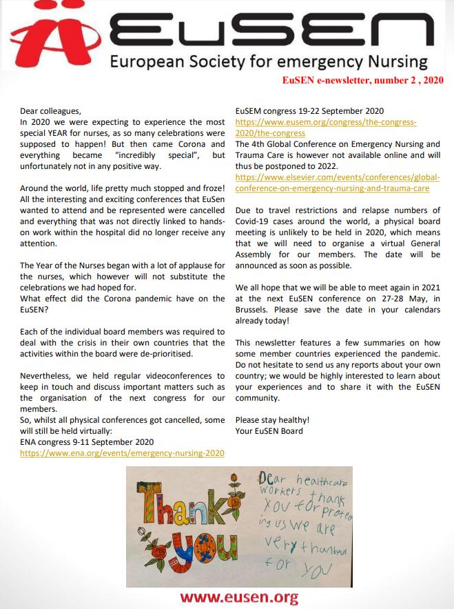 Nieuwsbrief 2-2020 van de EuSEN is uit